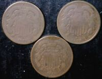 1865 1867 & 1869 TWO CENT 2C COINS MAKE AN OFFER NICE LOT OF DATES 3 COIN LOT