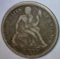 1883 VF  SEATED SILVER DIME A FINE COIN LOT 1 OF 100 AUCTIONS