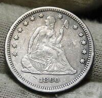1860 SEATED LIBERTY QUARTER 25 CENTS    KEY DATE 804,400 MINTED. 5927