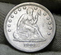 1860 O SEATED LIBERTY QUARTER 25 CENTS   KEY DATE 388,000 MINTED NICE 5991
