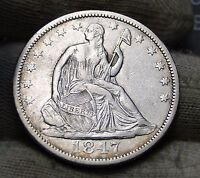1847 O SEATED LIBERTY HALF DOLLAR 50 CENTS.  NICE OLD COIN  5734