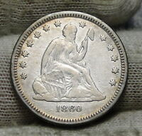 1860 O SEATED LIBERTY QUARTER 25 CENTS   KEY DATE 388,000 MINTED NICE 5888