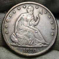 1870 SEATED LIBERTY HALF DOLLAR 50C   NICE COIN KEY DATE 656,000 MINTED 5459