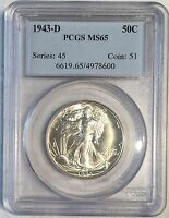 1943-D WALKING LIBERTY HALF DOLLAR - PCGS MINT STATE 65 - HIGH QUALITY SCANS 8600