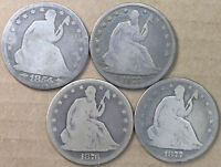 50C SEATED LIBERTY HALVES 1854 1875 1876 & 1877 AG G 4 COIN LOT  AVENUECOIN