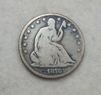 1876 LIBERTY SEATED HALF DOLLAR GOOD SILVER 50C