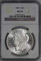 1887 S MORGAN SILVER DOLLAR MINT STATE 64 NGC UNITED STATES MINT COIN