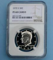 1970 S NGC PROOF 68 CAMEO KENNEDY HALF DOLLAR FROSTY GEM PF 68 CAM COIN
