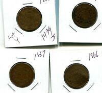 1865 - 1868  TWO CENT PIECE TYPE COIN LOT OF 4 G VG 1439J