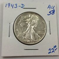 1943-D 50C WALKING LIBERTY SILVER HALF DOLLAR IN AU CONDITION
