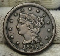 1846 LARGE CENT PENNY BRAIDED HAIR PENNY   NICE COIN   6134