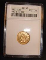 1891 ERROR DOUBLE DIE REVERSE $2 1/2 LIBERTY HEAD GOLD COIN QUARTER EAGLE ANACS