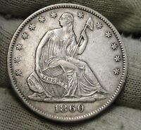 1860 O SEATED LIBERTY HALF DOLLAR 50 CENTS. NICE COIN SEMI KEY DATE 6139