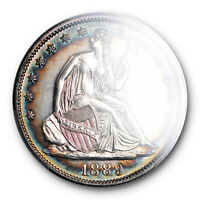 1889 LIBERTY SEATED HALF DOLLAR PCGS PR 62 PROOF TONED BEAUTY LOW MINTAGE