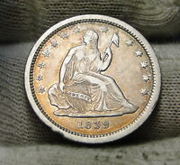 1839 SEATED LIBERTY QUARTER 25 CENTS   KEY DATE ONLY 491,146 MINTED. 6200