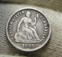1869S SEATED LIBERTY HALF DIME H10C    KEY DATE ONLY 230,000 MINTED 5829