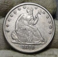 1870 SEATED LIBERTY HALF DOLLAR 50C   NICE COIN KEY DATE 656,000 MINTED 5681