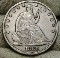 1869 SEATED LIBERTY HALF DOLLAR 50 CENTS. KEY DATE 795,300 MINTED NICE 2503