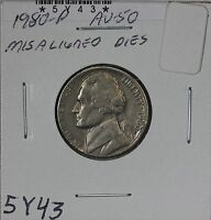 1980 P JEFFERSON NICKEL AU MISALIGNED DIES