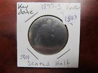 1877 S US EARLY AMERICAN SEATED LIBERTY HALF DOLLAR 90 SILVER GRADE AG ITEM1683