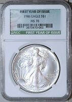 1986 P SILVER AMERICAN EAGLE COIN   NGC MS 70   002