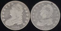 GENUINE 1830 & 1836 SILVER CAPPED BUST 50C
