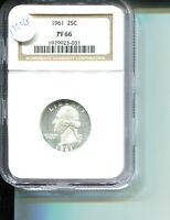 1961 WASHINGTON SILVER QUARTER NGC PF66 1720G
