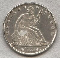 1873 SEATED LIBERTY HALF DOLLAR 50C WITH ARROWS AU DETAILS CLEANED