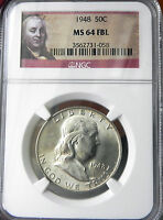 1948 P NGC MS 64 FBL MINT STATE 64 FULL BELL LINES FRANKLIN HALF DOLLAR