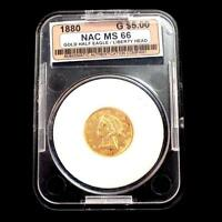 1880 U.S. GOLD HALF EAGLE FIVE DOLLARS LIBERTY HEAD   CASED AND GRADED.