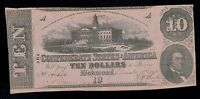 CONFEDERATE STATES OF AMERICA  10  DOLLARS 1862  PICK  52A VF.