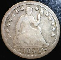 1854 SEATED HALF DIME FULL RIMS G  SILVER US COIN LOT 1   MAKE AN OFFER