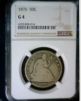 1876 NGC SLAB G4 SEATED HALF DOLLAR US SILVER COIN NICE .50 ESTATE FIND LOT 3