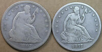 50C SEATED LIBERTY HALF DOLLARS 1867 S & 1877 S G VG DETAILS  AVENUECOIN