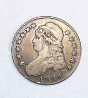 1814 CAPPED BUST/LETTERED EDGE HALF DOLLAR FINE SILVER 50C