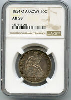 1854 O WITH ARROWS SEATED LIBERTY HALF DOLLAR NGC AU 58 MULTI COLOR TONING