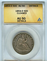 1854 O 50C ANACS AU50 DETAILS ABOUT ALMOST UNCIRCULATED HALF DOLLAR