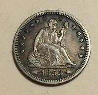 1853 SEATED LIBERTY QUARTER ARROWS & RAYS XF  THIS NICE