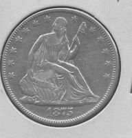 1875 SEATED LIBERTY SILVER HALF DOLLAR. XF AU CLEANED BRIGHT.