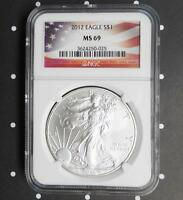 2012 NGC MS69 SILVER EAGLE DOLLAR 1 OUNCE FINE SILVER $1 AMERICAN FLAG LABEL