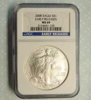 2008 NGC MS69 EARLY RELEASE SILVER EAGLE DOLLAR 1OZ FINE SILVER ER $1 COIN