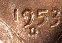 1953-D/D MINT STATE 64 RD LINCOLN CENT  ERROR COPPER WHEAT CENT SHIPS FREE 195