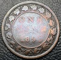 1891 CANADA VICTORIAN LARGE 1 CENT COIN LARGE DATE LARGE LEAVES VARIETY
