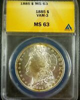1885 MORGAN DOLLAR VAM 3 ANACS MINT STATE 63