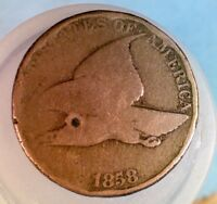 1858 FLYING EAGLE CENT PENNY  001