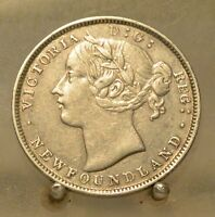 1865 CANADA NEWFOUNDLAND SILVER 20 CENTS OLD STERLING SILVER WORLD COIN