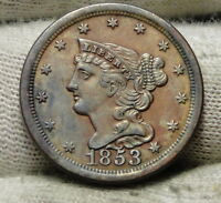 1853 BRAIDED HAIR HALF CENT -  ONLY 129,694 MINTED .  COIN 6208
