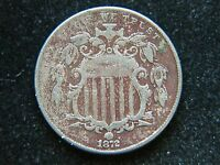 1872 5C SHIELD NICKEL SEMI KEY DATE SHARP DETAIL BOLD DATE CORRODED SCRATCHED