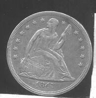 1847 SEATED LIBERTY SILVER DOLLAR. EXTRA FINE , HAS RIM BUMP ON REVERSE.