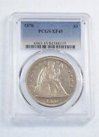 1870 LIBERTY SEATED DOLLAR CERTIFIED  PCGS  EXTRA FINE  45 SILVER $